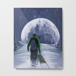 Moonlight Snowboarder Metal Print