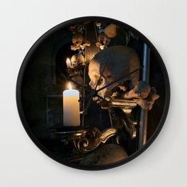 Sedlec Ossuary Skull Candle Photo Art, Skull Bone Church Wall Clock