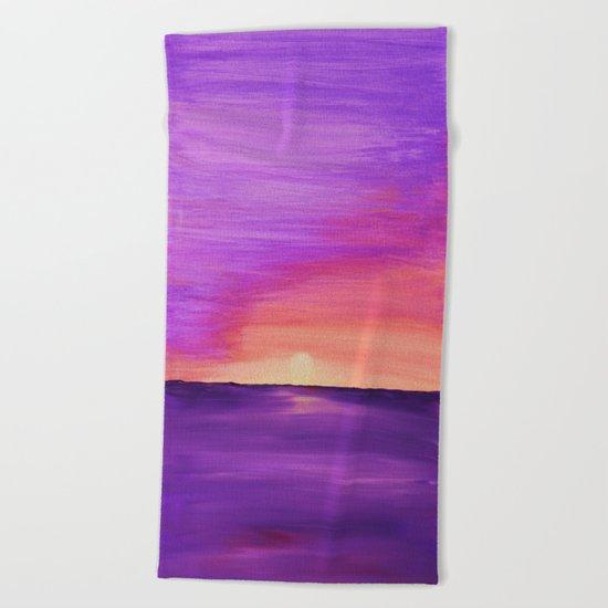 Purple Sunset Beach Towel