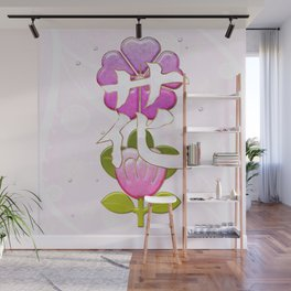 Japanese Flower Jeweled Artwork Wall Mural