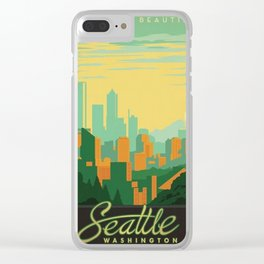 Vintage poster - Seattle Clear iPhone Case
