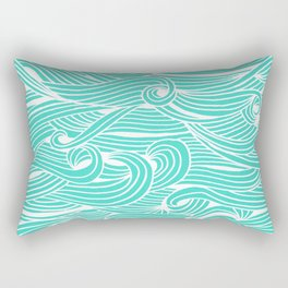 Water Drop – White on Turquoise Rectangular Pillow