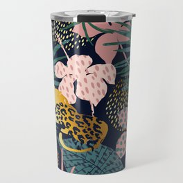 Exotic Golden Jungle Leopard & Pink Palm Leaf Geometric Pattern Travel Mug