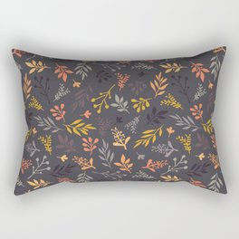 Autumn leaves orange gold gray purple pattern Rectangular Pillow