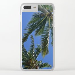 Palm trees, blue sky Clear iPhone Case