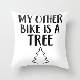 Christmas My Other Bike Is A Tree Throw Pillow