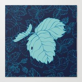 Blue Strawberry Leaves Canvas Print