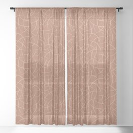 Ligonier Tan SW 7717 Abstract Crescent Shape Pattern on Cavern Clay SW 7701 Sheer Curtain