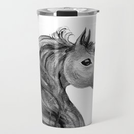 Unicorn, black and white Travel Mug