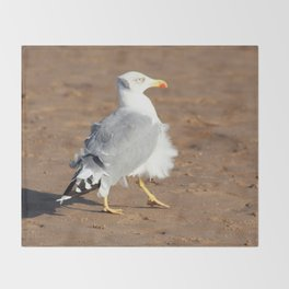 Seagull in a windy day with ruffled feathers Throw Blanket