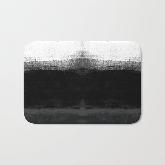 Ocean No. 2 - Minimal ocean abstract painting in black and white Bath Mat