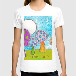 Mushroom Mixed Media Painting in Dyan Reaveley Style with Bright and Vibrant Colors T-shirt