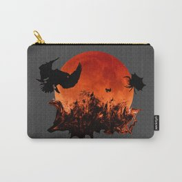 Spooky Halloween Blood Moon Screaming Birds And Spider Carry-All Pouch