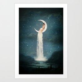 Moon River Lady Art Print