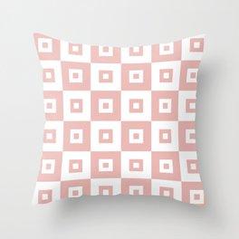 Retro Mid Century Modern Square Pattern Dusty Rose Throw Pillow