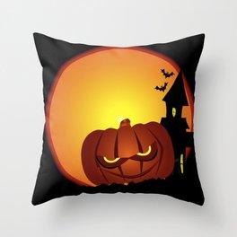 Evil Halloween Pumpkin Scene Throw Pillow