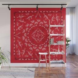 Dinosaur Skeletons Bandana in Lava Red Wall Mural