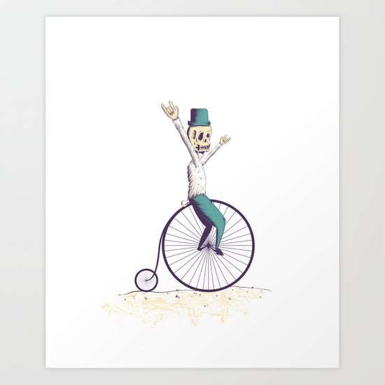 Let's ride Penny-farthing Art Print