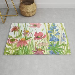 Watercolor Garden Flower Poppies Lupine Coneflower Wildflower Rug