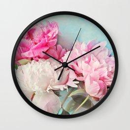 3 peonies Wall Clock