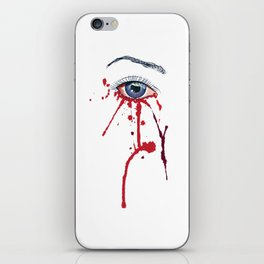 Blue eye with red paint iPhone Skin