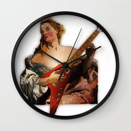 Girl with A Flying V  Wall Clock