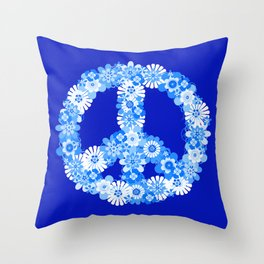 Peace Sign Floral Blue Throw Pillow