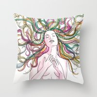 venus Throw Pillows featuring venus by Beth Jorgensen