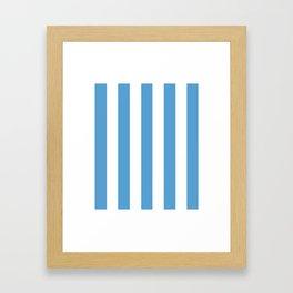 Carolina blue - solid color - white vertical lines pattern Framed Art Print