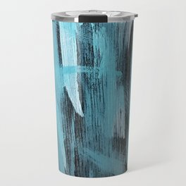 Turquoise Aqua Abstract Painting With Broad Brush Strokes Travel Mug