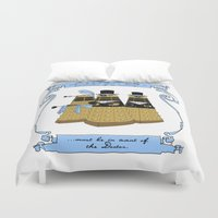 pride and prejudice Duvet Covers featuring Pride and Prejudice and Daleks by mikaelak