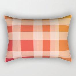 Red, Orange Plaid Rectangular Pillow