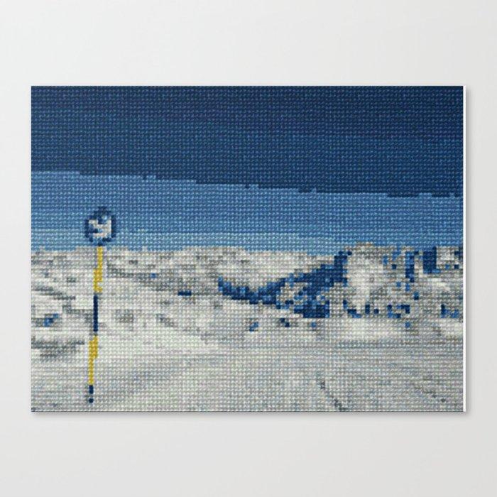 Cross Stitch Skiing Canvas Print
