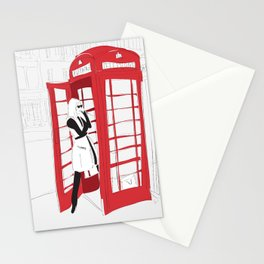 London Calling Phone Booth Fashion Girl Stationery Cards