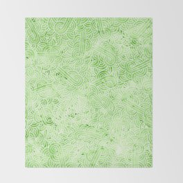 Greenery and white swirls doodles Throw Blanket