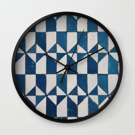 Geometric pattern from the tile museum in Lisbon, Portugal Wall Clock