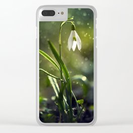 Mornin rainy impression with snowdrops Clear iPhone Case