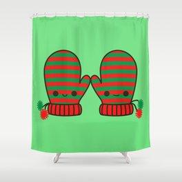Cute stripy mittens Shower Curtain
