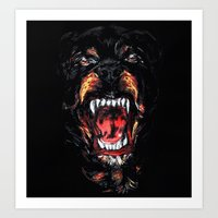 givenchy Art Prints featuring Givenchy Rottweiler by sixsociety