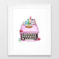 typewriter Framed Art Prints featuring typeWriter  by Watercolor_2011
