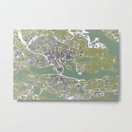 Stockholm city map engraving Metal Print