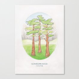 Haruki Murakami's Norwegian Wood // Illustration of a Forest and Mountains in Pencil Canvas Print