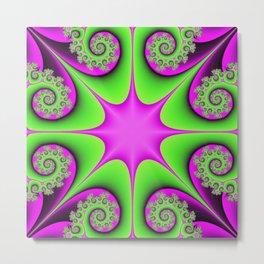 Kaleidoscope in Green and Pink Metal Print