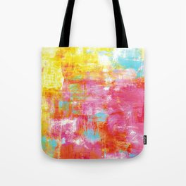 OFF THE GRID 2 Colorful Pink Pastel Neon Abstract Watercolor Acrylic Textural Art Painting Rainbow Tote Bag
