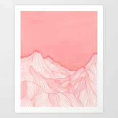 Lines in the mountains - pink Art Print