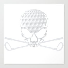 Unique Golfing Tee For Golfers With Illustration Of Skull Golf Ball T-shirt Design Field Swing Baby Canvas Print