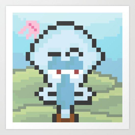 Squidward Pixels Art Print