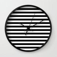 Modern Black White Stripes Monochrome Pattern Wall Clock