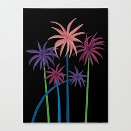 Neon Palms on Black Canvas Print