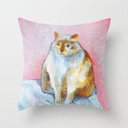 Polite Chunky Cat Throw Pillow